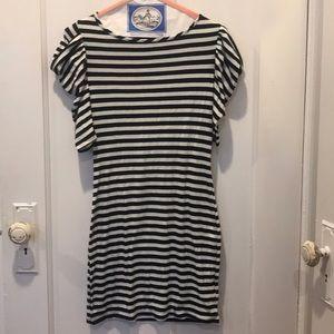 Striped poof sleeve dress